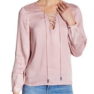 Jessica Simpson Lise Pink Lace-Up Embroidered Top